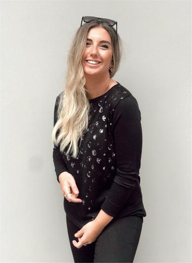 Optique Knitwear Varak Ve Taş Baskı V Yaka Uzun Kol Triko Kazak Siyah